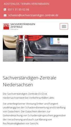 Vorschau der mobilen Webseite sachverstaendigen-zentrale.de, SVZ – Niedersachsen