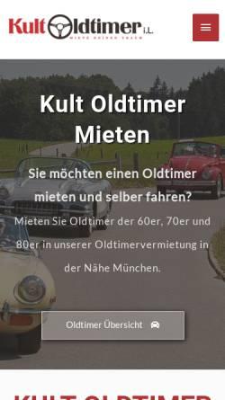 Vorschau der mobilen Webseite kult-oldtimer-mieten.de, KultOldtimer GmbH