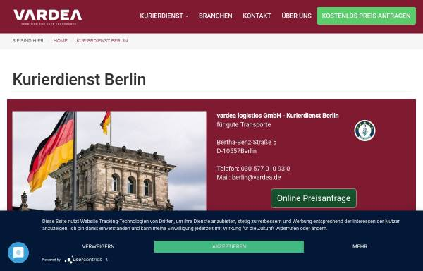 Vorschau von www.vardea.de, vardea logistics GmbH