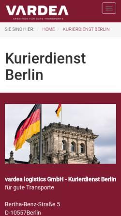 Vorschau der mobilen Webseite www.vardea.de, vardea logistics GmbH
