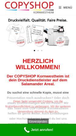 Vorschau der mobilen Webseite www.copyshop-kornwestheim.de, Copyshop, Digitaldruck, Werbetechnik