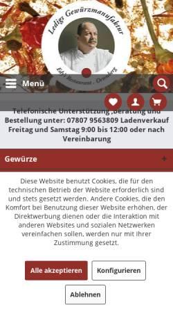 Vorschau der mobilen Webseite www.ledigs-gewuerzmanufaktur.de, Ledigs Gewürzmanufaktur
