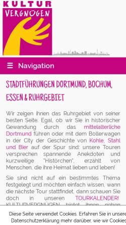 Vorschau der mobilen Webseite www.kulturvergnuegen.com, Ute S. Iserloh Kulturwissenschaftlerin
