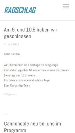 Vorschau der mobilen Webseite www.radschlag-stuttgart.de, Radschlag Stuttgart GbR