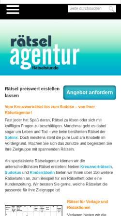 Vorschau der mobilen Webseite www.raetselstunde.com, Rätselagentur Rätselstunde