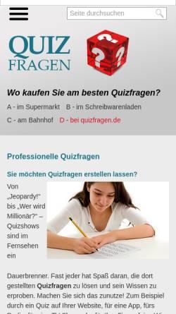 Vorschau der mobilen Webseite www.quizfragen.de, Rätselagentur Rätselstunde