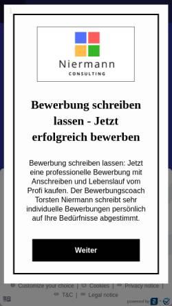 Vorschau der mobilen Webseite bewerbung-schreiben-lassen.eu, Niermann Consulting