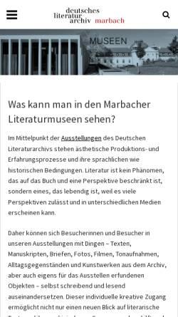 Vorschau der mobilen Webseite www.dla-marbach.de, Marbacher Literaturmuseen