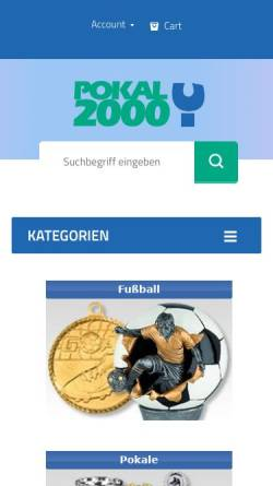 Vorschau der mobilen Webseite pokal-kaufen.de, Pokal 2000 Vertriebsgesellschaft für Sport- und Ehrenpreise mbH