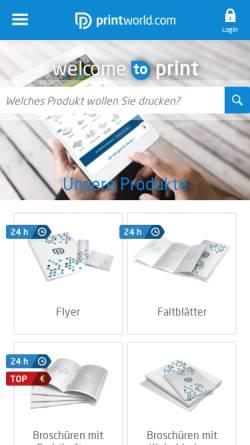 Vorschau der mobilen Webseite www.printworld.com, printworld.com GmbH