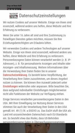 Vorschau der mobilen Webseite www.brandschutz-total.de, Knieps & Komm GmbH