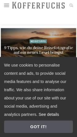 Vorschau der mobilen Webseite kofferfuchs.de, Kofferfuchs