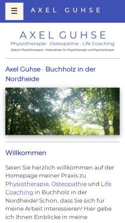 Vorschau der mobilen Webseite www.guhse-therapie.de, Axel Guhse - Physiotherapie . Osteopathie . Life Coaching