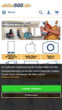 Vorschau der mobilen Webseite www.akku500.de, akku500 - EMCOM GmbH