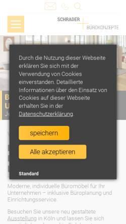 Vorschau der mobilen Webseite www.schrader-buero.de, Schrader Bürokonzepte