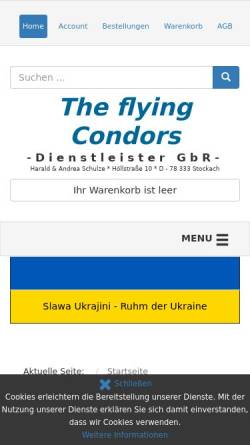 Vorschau der mobilen Webseite shop.the-flying-condors.de, The flying Condors GbR
