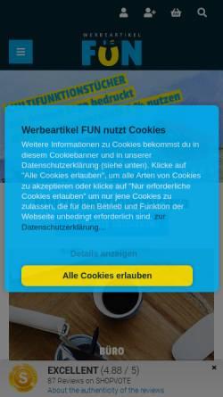 Vorschau der mobilen Webseite www.werbeartikel.fun, Werbeartikel FUN - MaRe Handels GmbH