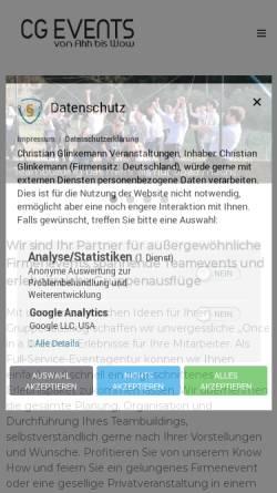 Vorschau der mobilen Webseite www.cg-events.de, CG Events