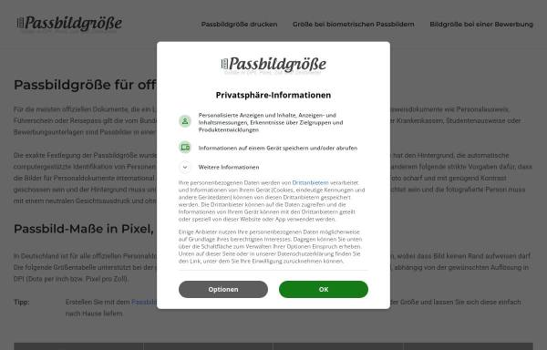 Vorschau von www.passbildgroesse.de, Passbildgroesse.de