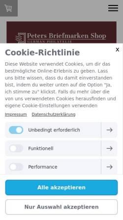 Vorschau der mobilen Webseite www.peters-briefmarken-shop.de, Peters Briefmarken Shop