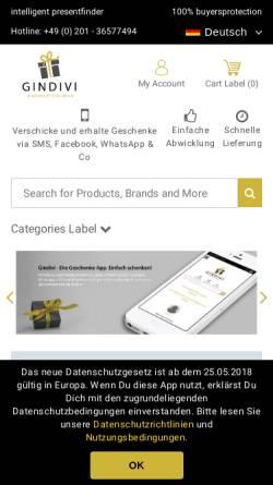 Vorschau der mobilen Webseite www.gindivi.de, Gindivi - Demotex GmbH