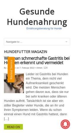 Vorschau der mobilen Webseite www.gesunde-hundenahrung.de, Gesunde Hundenahrung