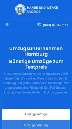 Vorschau der mobilen Webseite www.hw-umzug.de, Hände und Werke