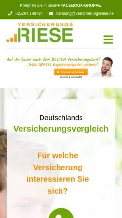 Vorschau der mobilen Webseite www.versicherungsriese.de, Versicherungsriese