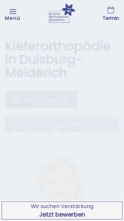 Vorschau der mobilen Webseite kieferorthopaedie-meiderich.de, Kieferorthopädie Meiderich