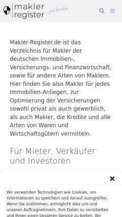 Vorschau der mobilen Webseite www.makler-register.de, Makler-Register