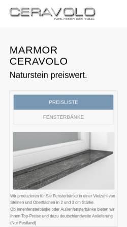 Vorschau der mobilen Webseite ceravolo.de, Marmor Ceravolo