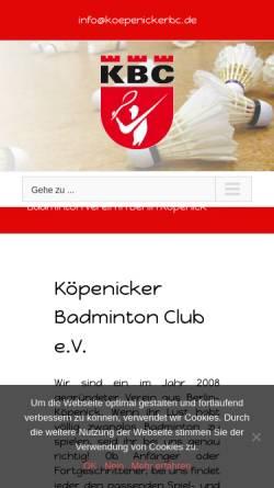 Vorschau der mobilen Webseite koepenickerbc.de, Köpenicker Badminton Club e.V.
