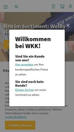 Vorschau der mobilen Webseite www.wkk-deutschland.de, WKK GmbH