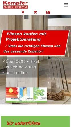 Vorschau der mobilen Webseite www.fliesen-kempfer.de, Volker Kempfer GmbH