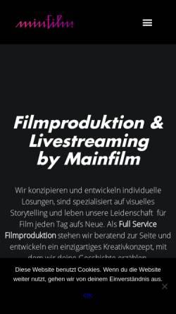 Vorschau der mobilen Webseite mainfilm.tv, Filmproduktion & Videoproduktion Frankfurt Mainfilm