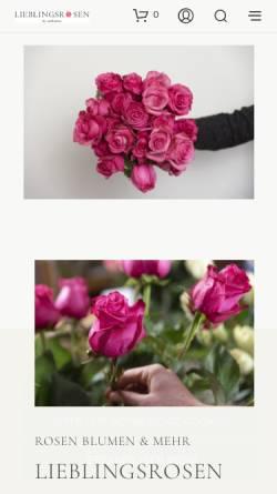 Vorschau der mobilen Webseite www.lieblingsrosen.com, Airportflowers GmbH