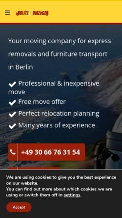 Vorschau der mobilen Webseite blitzumzuege.berlin, Blitz Umzüge