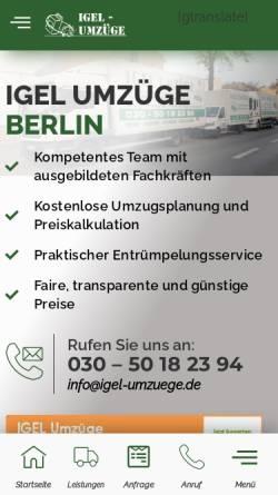 Vorschau der mobilen Webseite www.igel-umzuege.de, IGEL Umzüge