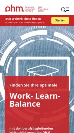 Vorschau der mobilen Webseite ohm-professional-school.de, OHM Professional School, Technische Hochschule Nürnberg