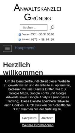Vorschau der mobilen Webseite www.rae-gruendig.de, Anwaltskanzlei Gründig
