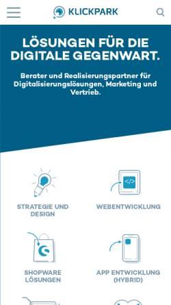 Vorschau der mobilen Webseite klickpark.de, Klickpark GmbH & Co. KG