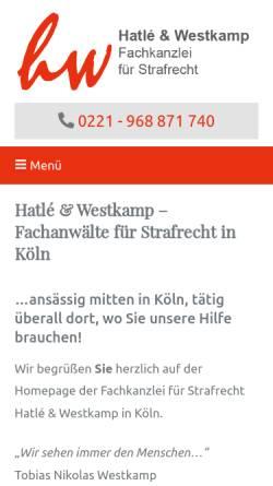Vorschau der mobilen Webseite www.ra-hatle-westkamp.de, Hatlé & Westkamp Rechtsanwälte