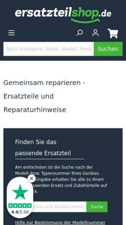 Vorschau der mobilen Webseite www.ersatzteilshop.de, Ersatzteilshop GmbH