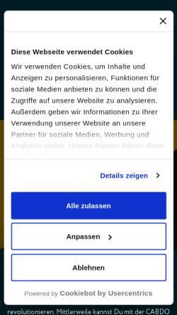 Vorschau der mobilen Webseite www.cabdo.de, Cabdo - Die Digitale Taxizentrale