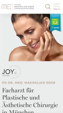 Vorschau der mobilen Webseite www.aesthetic-eder.de, PD Dr. Med. Maximilian Eder