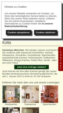 Vorschau der mobilen Webseite www.kaminbau-kolla.de, Kaminbau Kolla