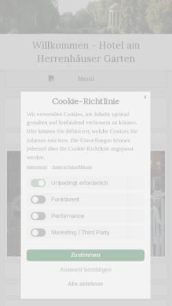 Vorschau der mobilen Webseite www.hotel-am-herrenhaeuser-garten.de, Hotel am Herrenhäuser Garten