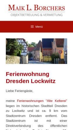 Vorschau der mobilen Webseite www.maik-borchers.de, Maik L. Borchers - Ferienwohnung Dresden Lockwitz