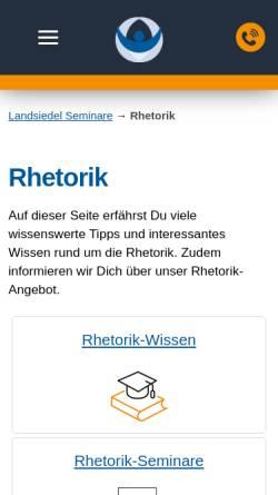Vorschau der mobilen Webseite www.landsiedel-seminare.de, Landsiedel Rhetorik Akademie