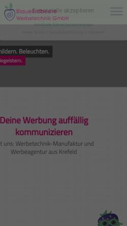 Vorschau der mobilen Webseite www.blaueerdbeere.de, BlaueErdbeere Werbetechnik GmbH